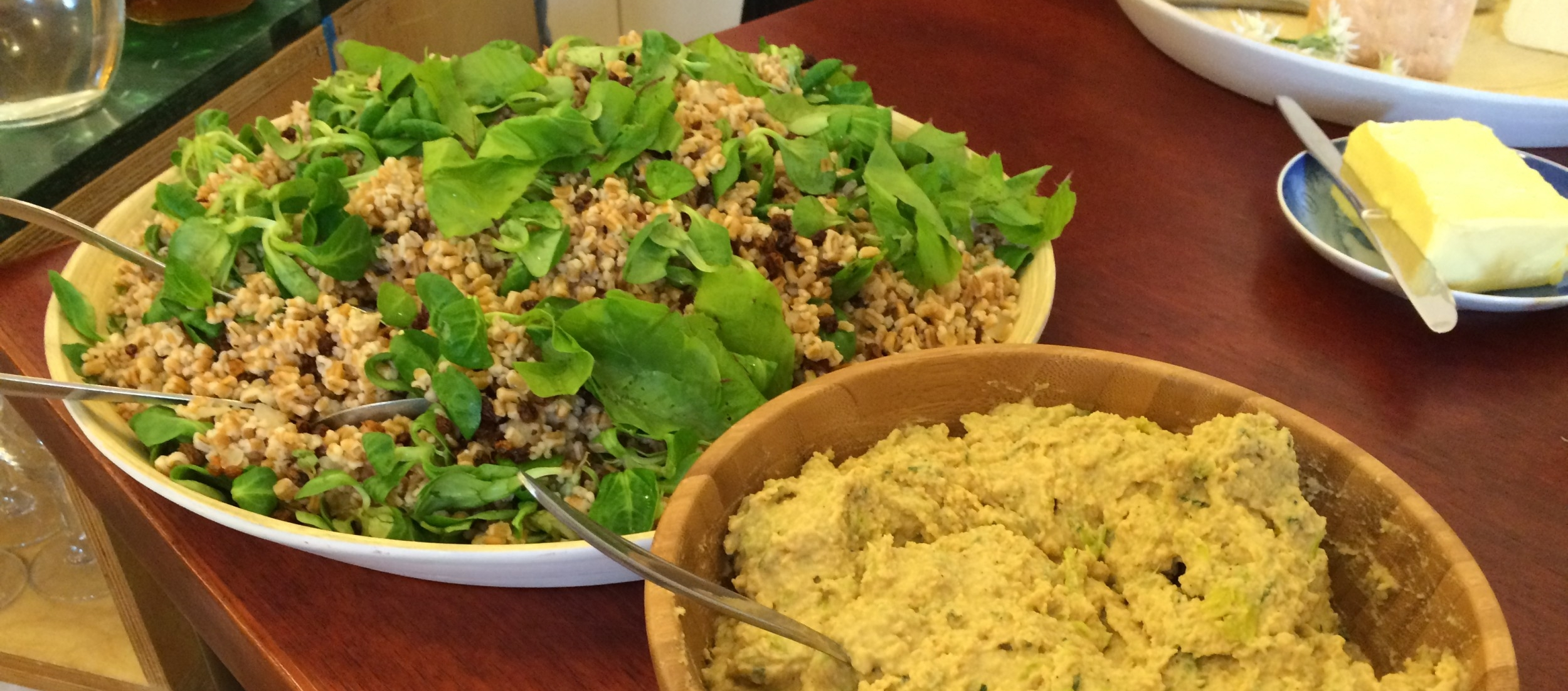 Speltsalat med urter og humus